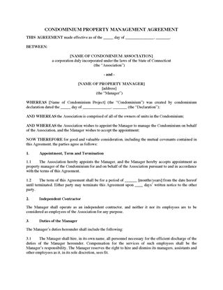 Picture of Connecticut Condo Property Management Agreement