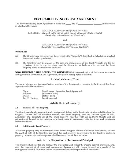 Picture of USA Revocable Living Trust Agreement with Change of Jurisdiction Clause