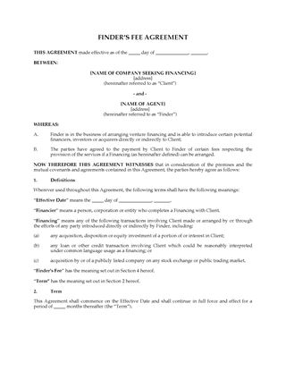 Picture of USA Finder's Fee Agreement for Identifying Potential Financings