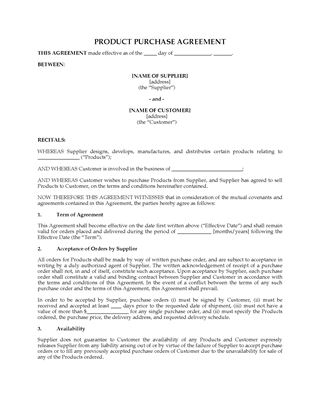 Picture of Product Purchase Agreement