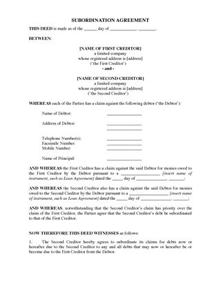 Picture of UK Subordination Agreement