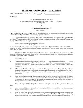 Picture of Oregon Rental Property Management Agreement
