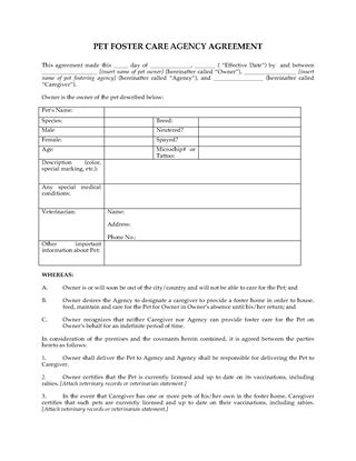 Picture of Pet Foster Care Agreement