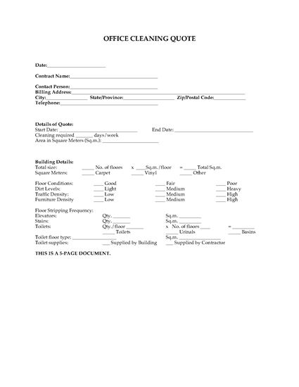 Cleaning quote for office complex legal forms and for Office cleaning contract template