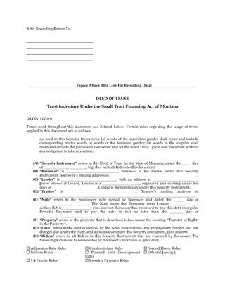 Picture of Montana Deed of Trust