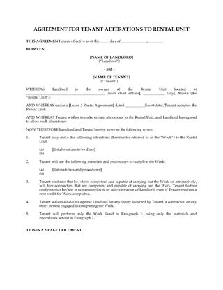 Picture of Alaska Agreement for Tenant Alterations