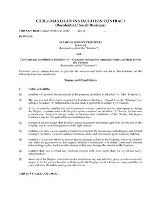Picture of Christmas Light Display Contract (Residential and Small Business)