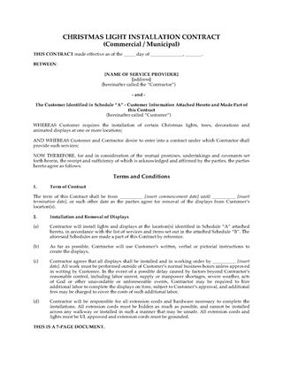 Picture of Christmas Light Display Contract (Commercial or Municipal)