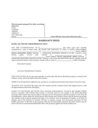 Picture of Indiana Warranty Deed