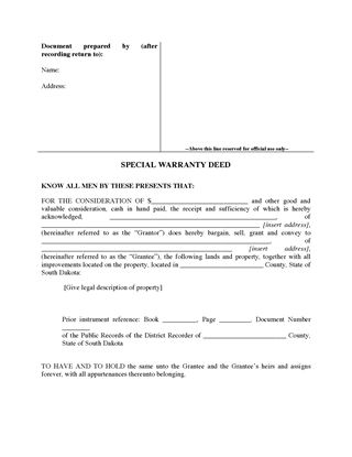 Picture of South Dakota Special Warranty Deed