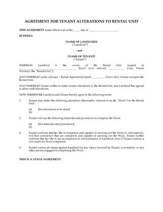Picture of Yukon Agreement for Tenant Alterations to Rental Unit