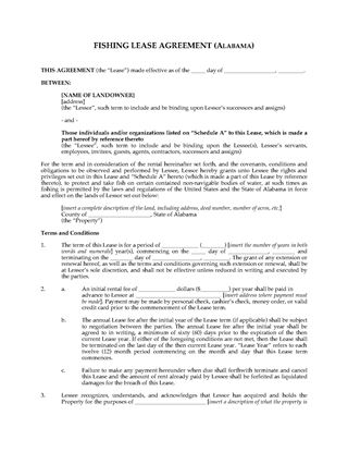 Picture of Alabama Fishing Lease Agreement