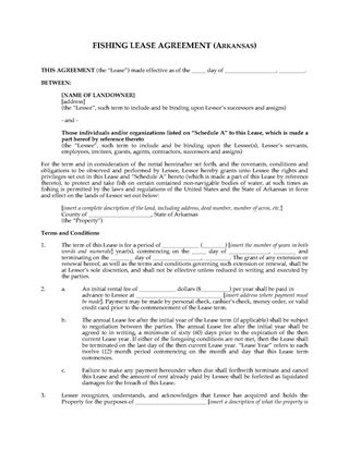 Picture of Arkansas Fishing Lease Agreement