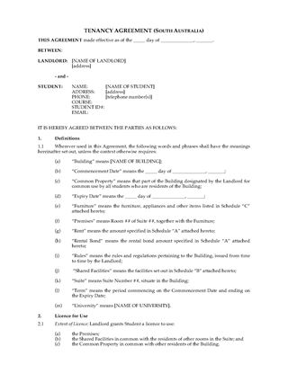 Picture of South Australia Dormitory Housing Tenancy Agreement