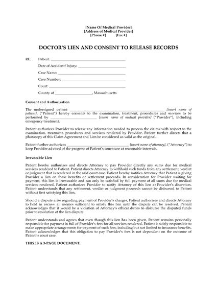 Picture of Massachusetts Doctor's Lien and Patient Consent