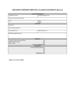 Picture of Idaho Security Deposit Statement
