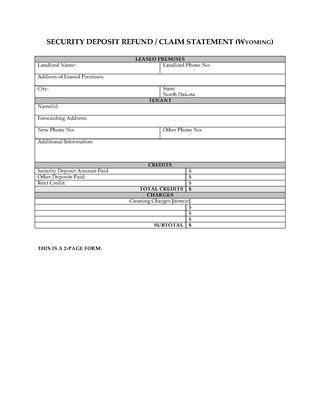 Picture of Wyoming Security Deposit Statement
