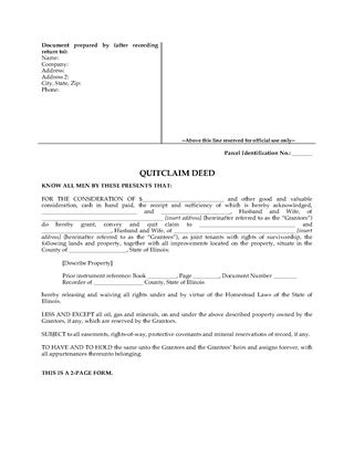 Picture of Illinois Quitclaim Deed for Joint Ownership
