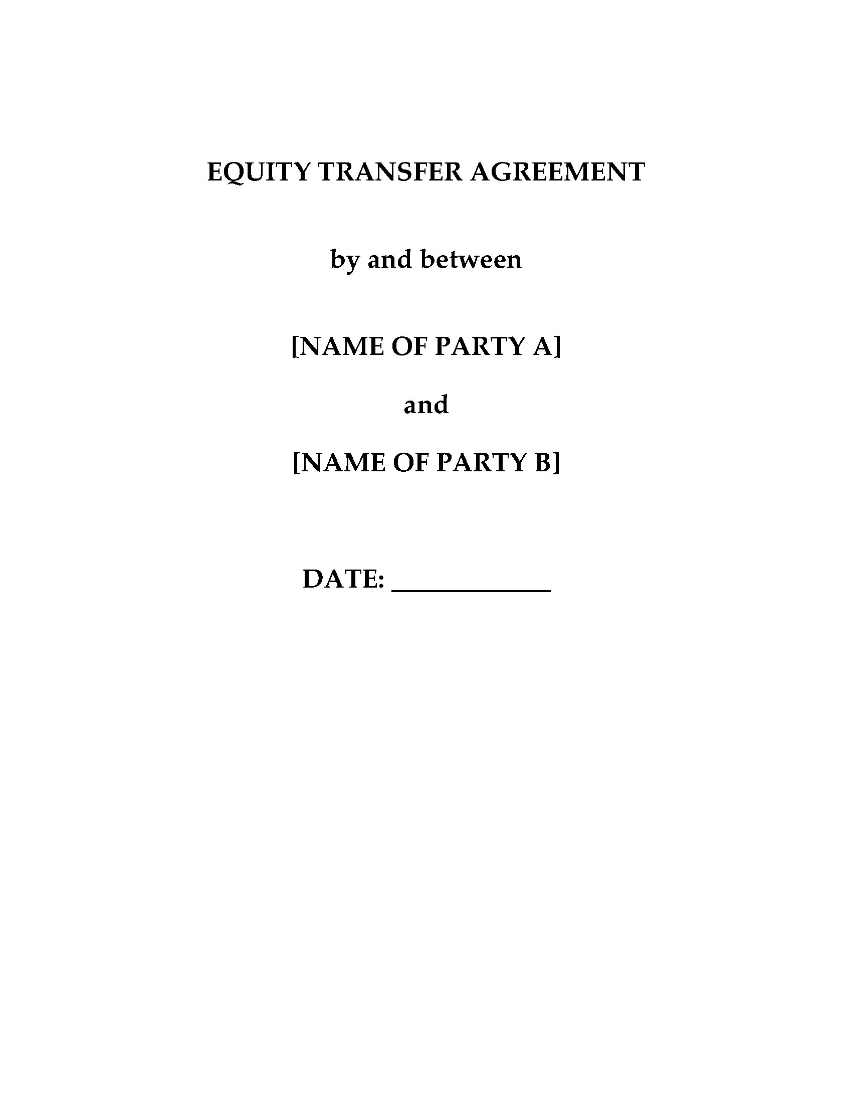 China Equity Transfer Agreement – Business Transfer Agreement