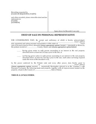 Picture of Maine Deed of Sale by Personal Representative