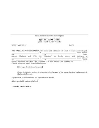 Picture of Minnesota Quitclaim Deed for Joint Ownership