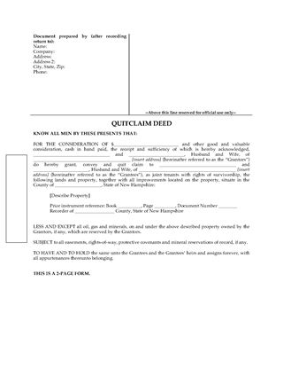 Picture of New Hampshire Quitclaim Deed for Joint Ownership