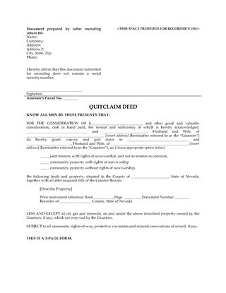 Picture of Nevada Quitclaim Deed for Joint Ownership