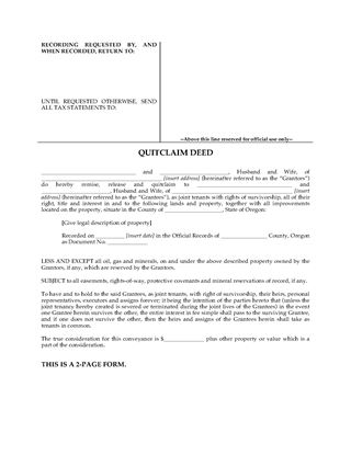 Picture of Oregon Quitclaim Deed for Joint Ownership