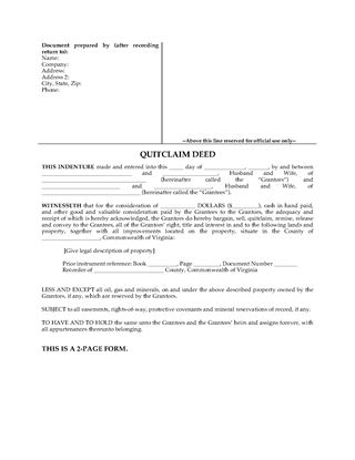 Picture of Virginia Quitclaim Deed for Joint Ownership