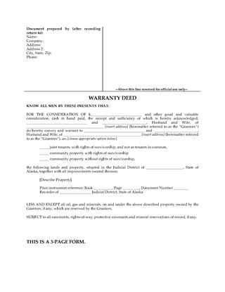 Picture of Alaska Warranty Deed for Joint Ownership