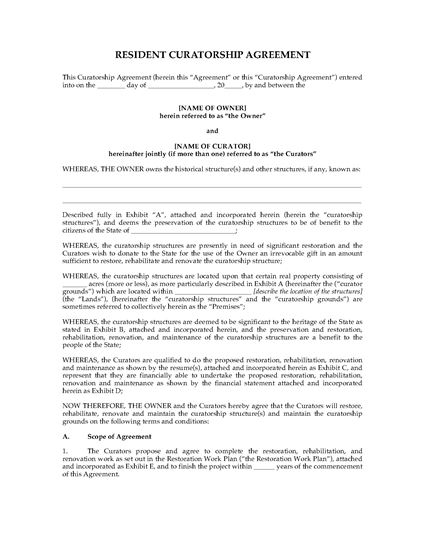 Picture of USA Resident Curatorship Agreement