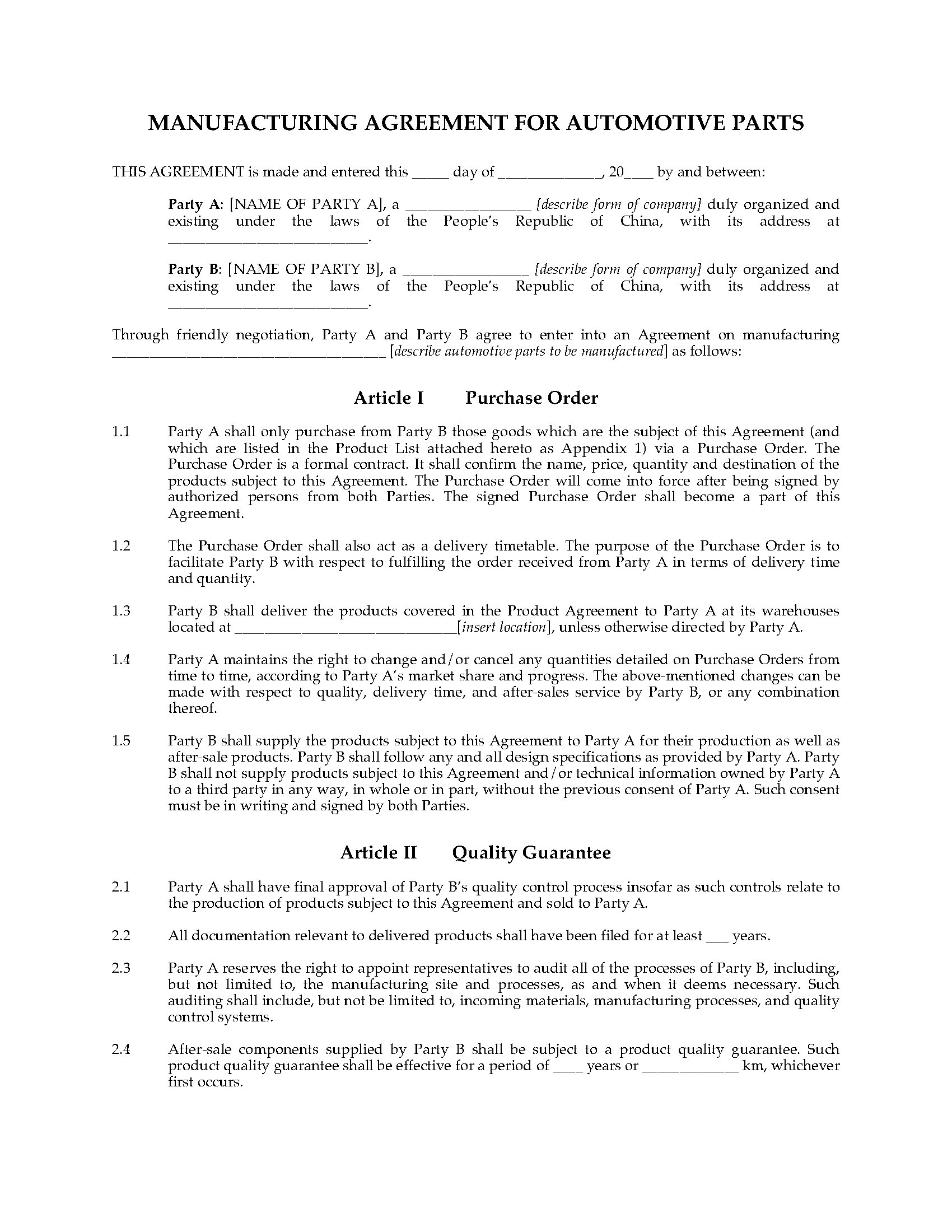 Manufacturing Agreement Template 28 Images Outsourcing