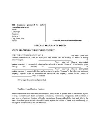 Picture of Indiana Special Warranty Deed