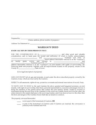 Picture of Iowa Warranty Deed for Joint Ownership