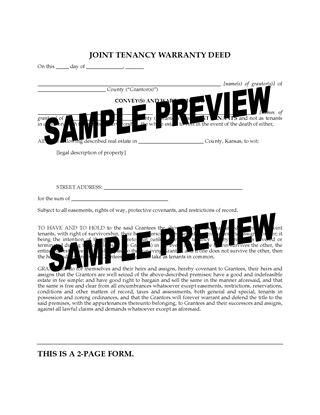 Picture of Kansas Joint Tenancy Warranty Deed