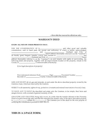 Picture of Kentucky Warranty Deed for Joint Ownership