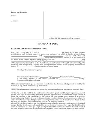 Picture of Pennsylvania Warranty Deed for Joint Ownership