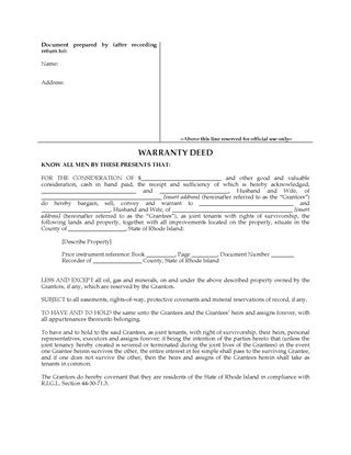 Picture of Rhode Island Warranty Deed for Joint Ownership