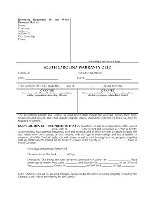 Picture of South Carolina Warranty Deed for Joint Ownership