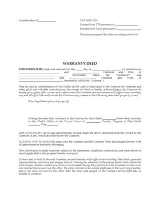 Picture of Virginia Warranty Deed for Joint Ownership