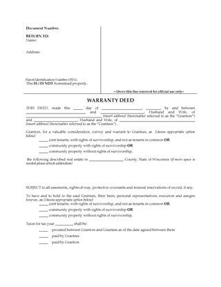 Picture of Wisconsin Warranty Deed for Joint Ownership