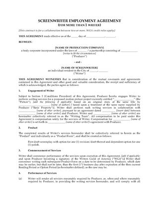 Picture of USA Screenwriter Employment Agreement for Writing Team