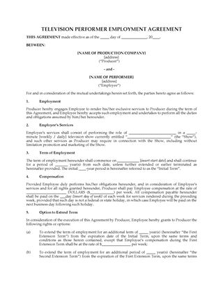Picture of Television Performer Employment Contract