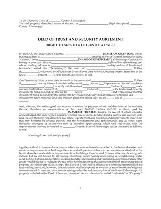 Picture of Mississippi Commercial Deed of Trust and Security Agreement