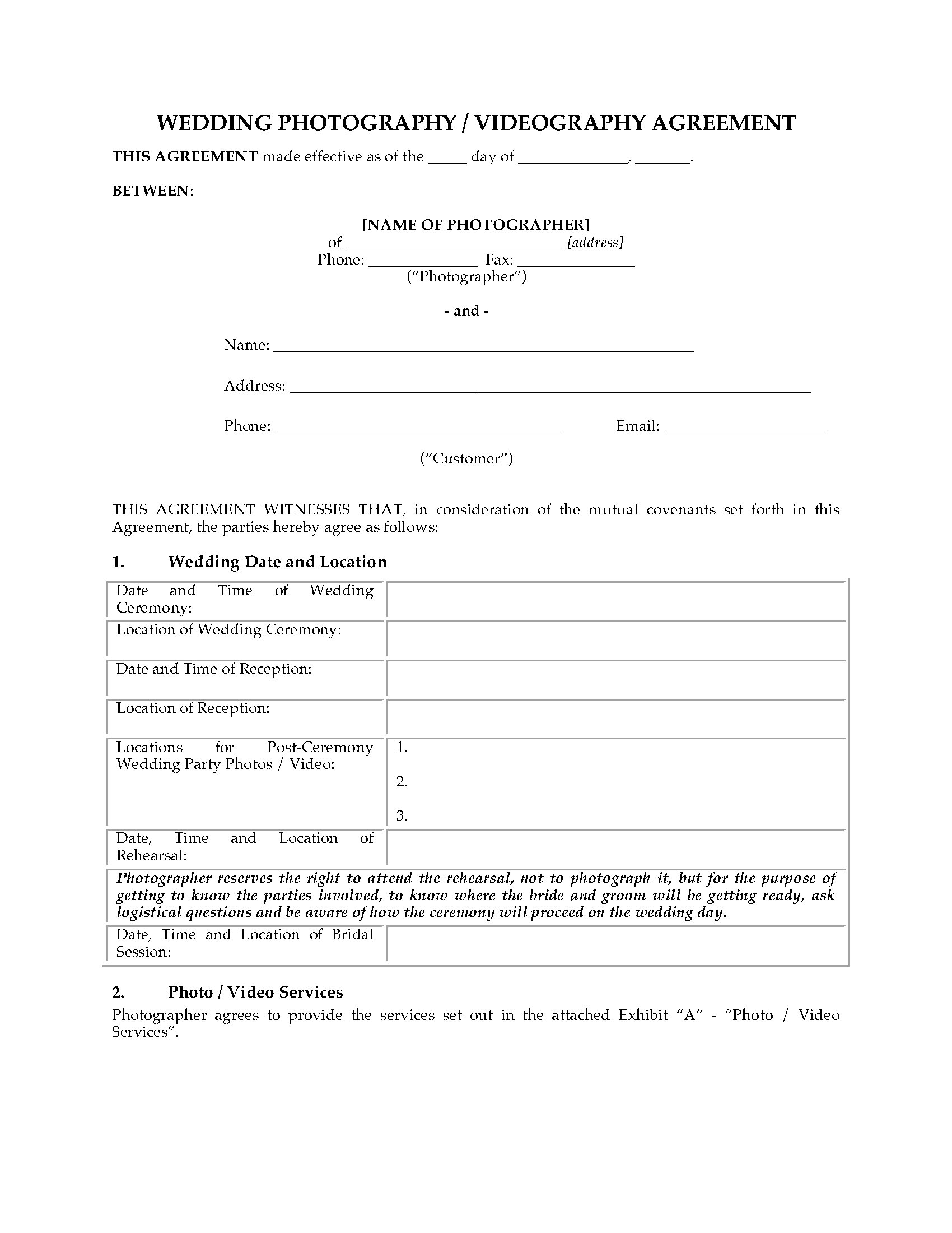 Wedding Photography and Videography Contract – Videography Contract Template