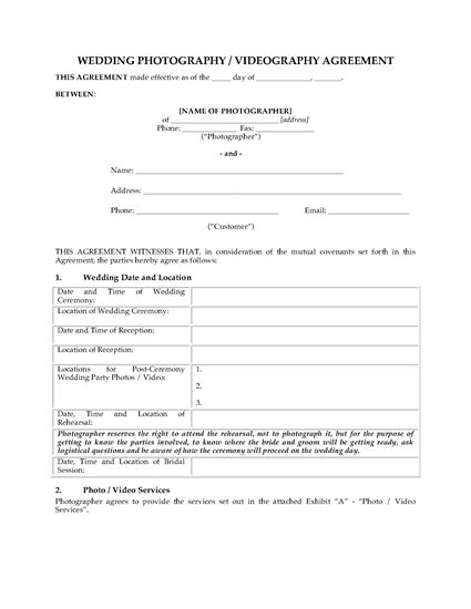 Picture of Wedding Photography and Videography Contract