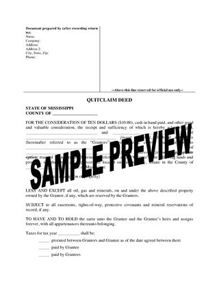 Picture of Mississippi Quitclaim Deed from Husband and Wife to Individual