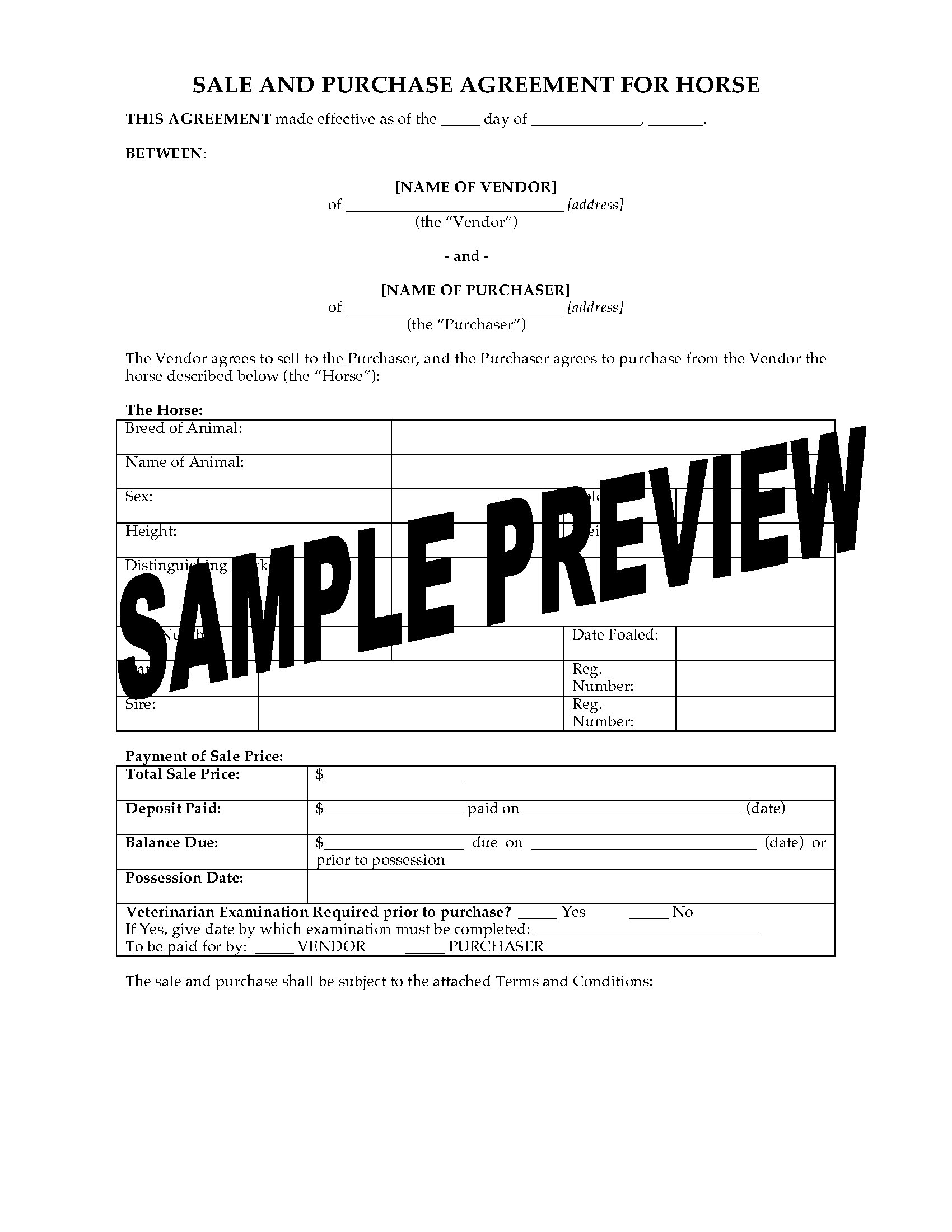 Animal Services Forms – Horse Sales Contract