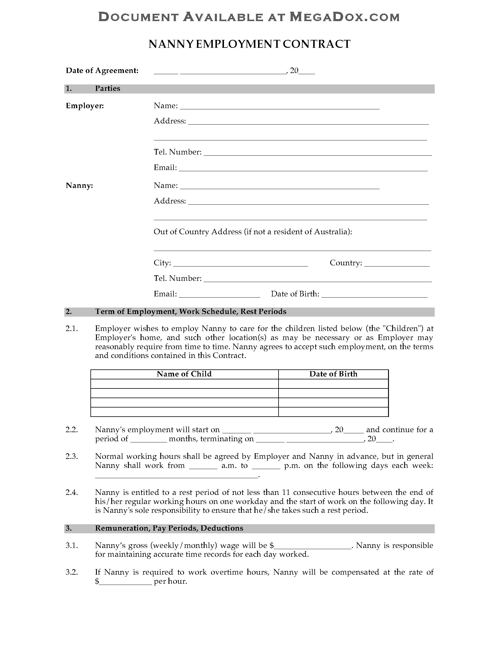 Nanny Agreement Template. confidentiality agreement template ...