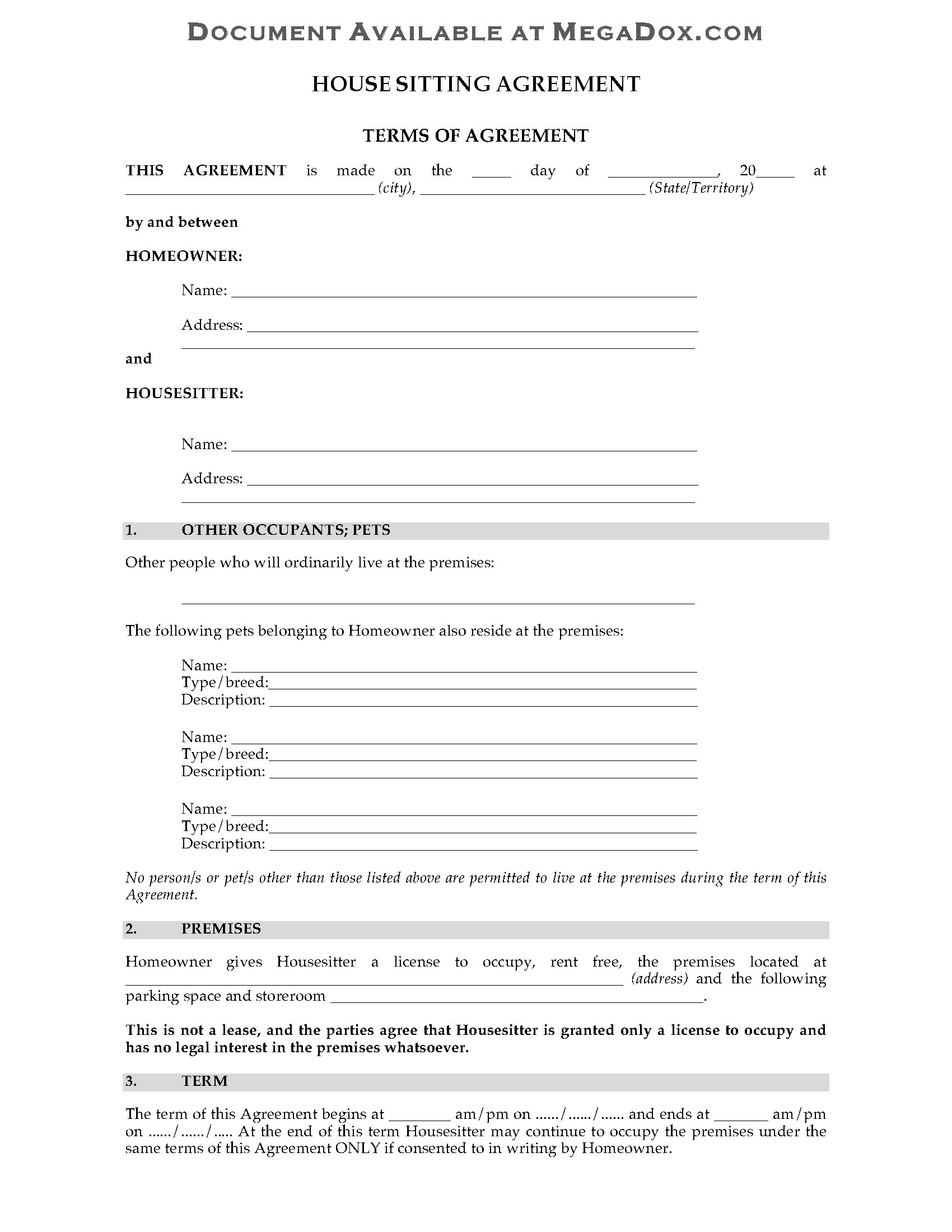 Australia House Sitting Agreement Form   Legal Forms and Business ...